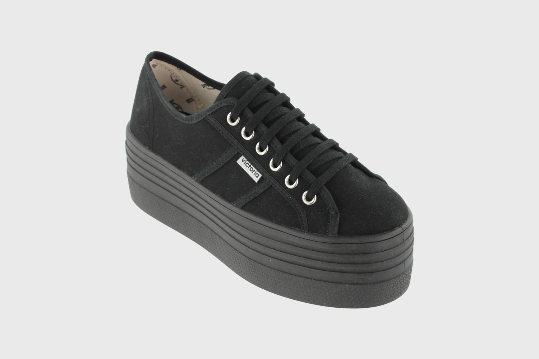 victoria Barcelona Doble Plataforma negra, zapatillas