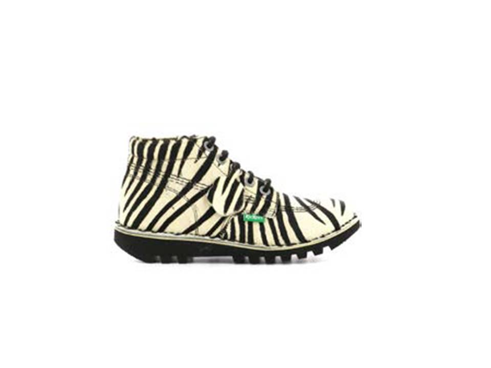 Botas Kickers Neorally zebra, botines mujer
