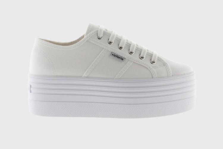 victoria Barcelona Doble Plataforma blanca, zapatillas 105101